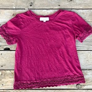 LOFT - Lace Trim Shirt - sz Medium